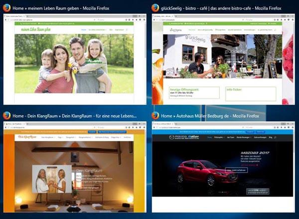 Wenn Sie die Links der Internetseiten auf der linken Seite anklicken, können Sie das Design, die Inhalt und Besonderheiten der Gestaltung bei verschiedenen Branchen sehen.